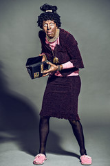 Man dressed as an old woman.theatrical image