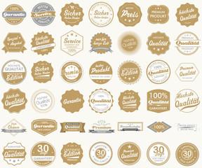 Button Siegel Premium Garantie Angebot Service Shop Logo gold