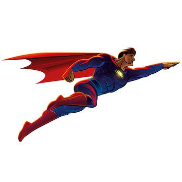 Superhero flying. Vector illustration. Isolated background