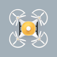 Top view of quadrocopter with clipping path