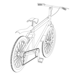 The sports bicycle a contour on a white background