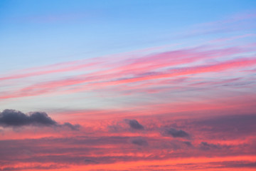 Colorful red and blue sunset sky