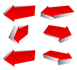 Set of 3d red arrows in different directions. Left and right arr
