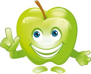 Figur Apfel mit Gesicht lacht und zeigt Hand Achtung
