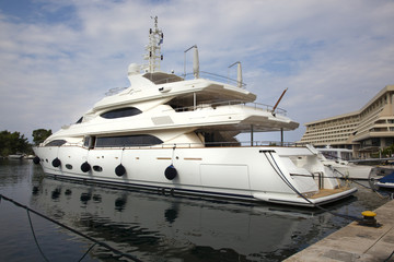 Luxury yachts in the small harbor