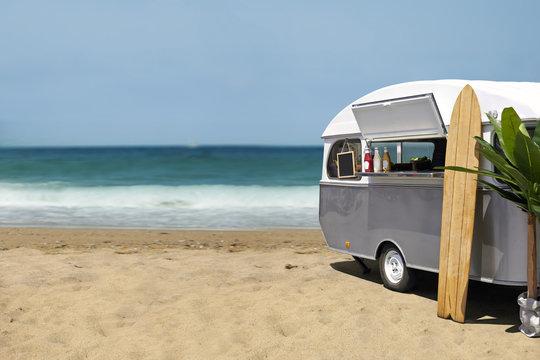 Slow food caravan on the beach