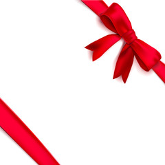 Isolated realistic tied the corners red bow and ribbon