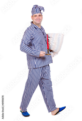 3a05337224 man in pajamas on white background