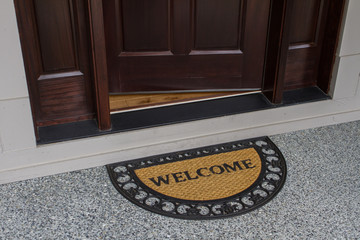Welcome door mat with open door