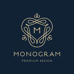Simple line art monogram logo design