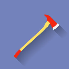 Icon of firefighter or fireman axe. Flat style