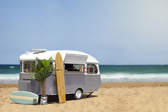 Food truck caravan on the beach