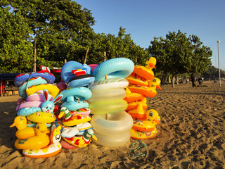 inflatable toys for swimming,  Sanur, Bali, Indonesia