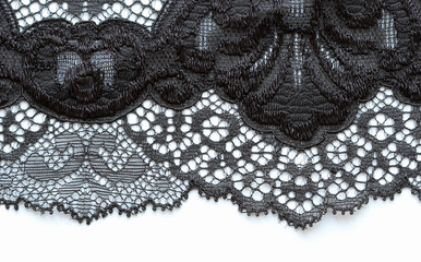The macro shot of the white and black lace texture material