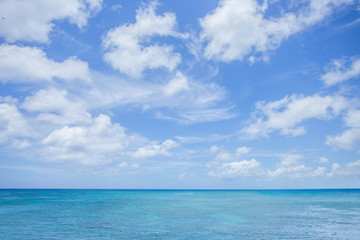 Aluminium Prints Heaven Sea with clouds blue sky background