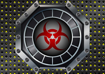 Abstract Biohazard Symbol with metal grid on yellow and black st