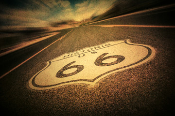 Photo on textile frame Route 66 Route 66 road sign with vintage texture effect