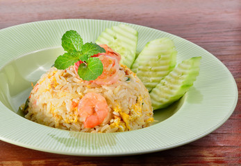 Fried rice with shrimp on background