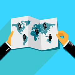 global business concept in flat design, vector, illustration
