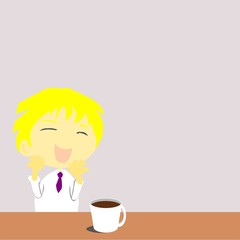 Office man happy with coffee