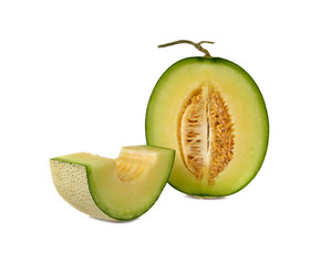 ripe green cantaloupe melon with stem on white background