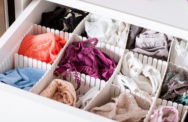 Fototapeta Female linen in the shelf obraz