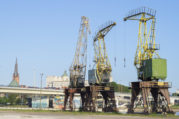 the historic port cranes in Szczecin