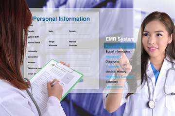 Wall Mural - Using electronic medical record.