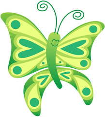 Beautiful green butterfly posing and smiling