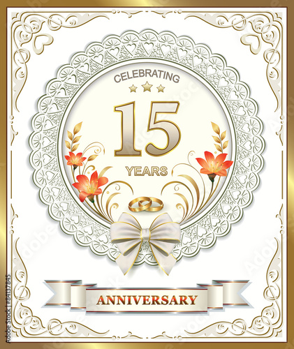 15th Wedding Anniversary.15th Wedding Anniversary With Rings Stock Image And Royalty Free