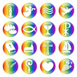 Button Set: Christliche Symbole in Regenbogenfarben, Vektor