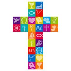 Kreuz aus bunten christlichen Symbolen / Vektor