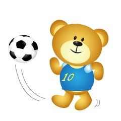 Cute cartoon boy bear playing soccer