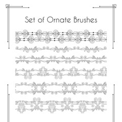 Set of ornate vector brushes.