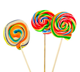 Colored sweet candys, lollipop sticks, Holidays