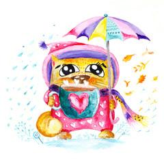 Watercolor Seasons Cat