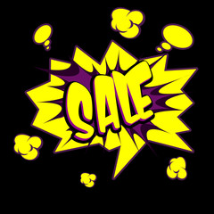 Sale text  sticker in Comic book style