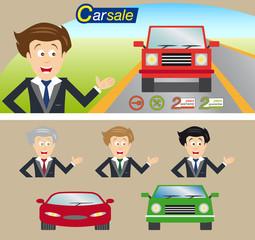 Car dealer package vector. Editable illustration set.