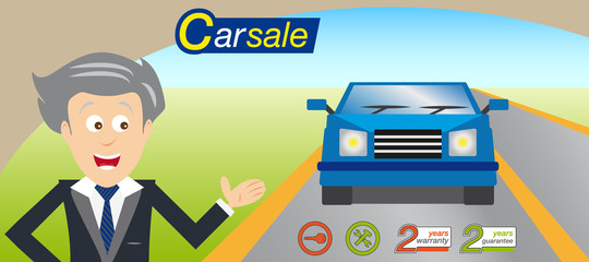 Sales man offering a car. Icons and logo vector. Blue car.