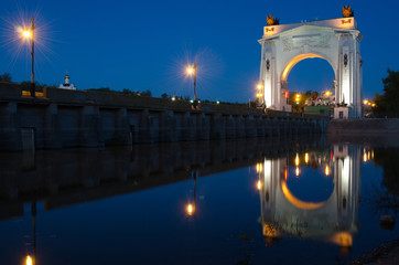 Evening view, with reflection on water arch, Volga-Don Canal