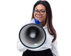 African businesswoman shouting in megaphone
