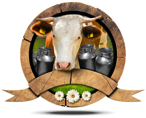 Dairy Products - Wooden Icon with Cow and Cans