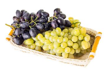 Fresh ripe Grapes in Wicker basket
