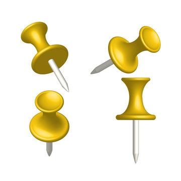 Set of yellow pin different view, thumbtack, vector, illustratio