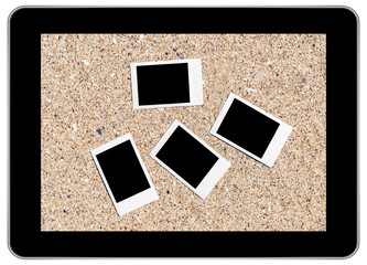 Blank Instant Photos On Beach Sand In Summer On Modern Tablet