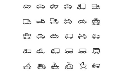 Vehicles Line Vector Icons 3