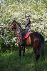 Girl with bay riding horse in a lush garden