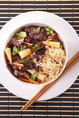 chinese soup with noodles,vegetable and beef