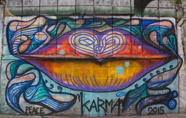 BANGKOK,THAILAND-May 26 : Street art graffiti. Paintings on the