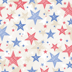 Background with Seamless pattern with red and blue stars for  In